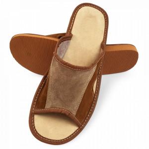 Papuci de Casa Vara din Piele Intoarsa Culoare Maro Model 'Velvety Step'