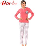 Pijama Dama Bumbac Interlock, 'I'm So Happy', Fawn