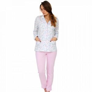 Pijama Dama Cu Nasturi din Bumbac, M-Max, 'Pink Fantasy'