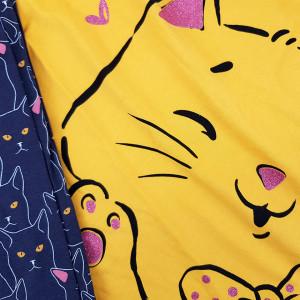 Pijama Dama din Bumbac 100% Vienetta Model 'Meow...Meow Cute' Yellow