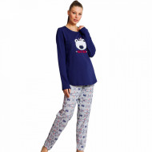 Pijama Dama din Bumbac Vatuita la Interior Vienetta Model 'Hello Bear' Blue