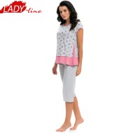 Pijama Dama Maneca Scurta si Pantalon 3/4, Material Bluza: Bumbac 100% Prime Quality, Model 'The World Of Hearts', Brand DN NightWear, Culoare Gri, Pijamale Polonia