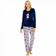Pijama Dama Soft Velur, Vienetta, 'Dream Big' Blue
