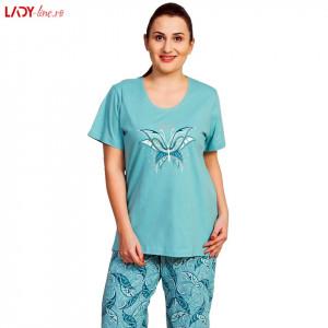 Pijama Dama Vienetta, Bumbac 100%, 'Beautiful' Green