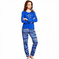 Pijama Dama Vienetta, Bumbac Interloc, 'Dream Big' Blue