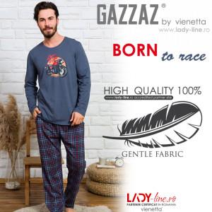 Pijamale Barbati Bumbac 100% Gazzaz by Vienetta 'Born to Ride' Gray