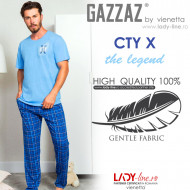 Pijamale Barbati Bumbac 100% Gazzaz by Vienetta 'CTY X the legend'