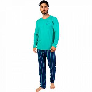 Pijamale Barbati din Bumbac 100% Gazzaz by Vienetta Model 'Happy Life' Green