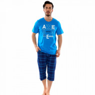 Pijamale Barbati Marimi Mari Gazzaz by Vienetta Model 'Awesome City' Blue