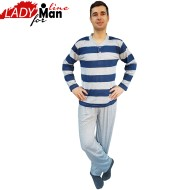 Pijamale Barbati, Material Bumbac 100%, Culoare Gri, Model Gray Stripes, Producator Dehai-T, Pijamale Barbatesti