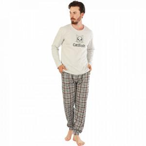 Pijamale Barbati Model 'Cattitude' Culoare Gri Brand Gazzaz by Vienetta