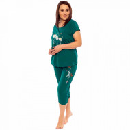 Pijamale Confortabile din Bumbac Marimi Mari Vienetta Model 'Faith Hope Love' Green