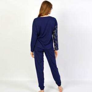 Pijamale Confortabile din Bumbac Vienetta Model 'Poeme' Culoare Albastru