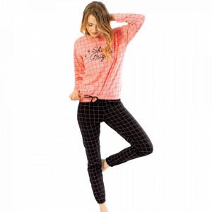 Pijamale Confortabile din Bumbac Vienetta Model 'Shine Bright' Culoare Roz