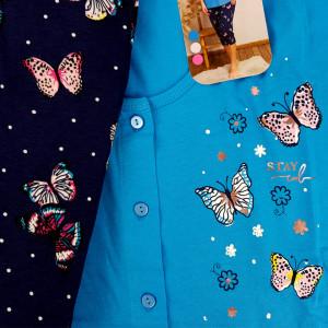 Pijamale cu Nasturi Marimi Mari Vienetta Model 'Stay Cool Butterfly' Blue