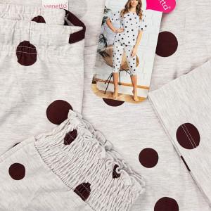 Pijamale Dama Confortabile Vienetta Pantalon 3/4 Model 'Happy Dots'