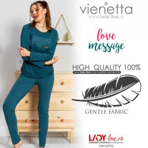 Pijamale Dama din Bumbac Vienetta Dream Model 'Love Message'