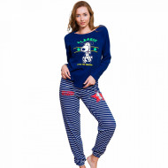 Pijamale Dama din Bumbac Vienetta Model 'Classic Happiness' Albastru