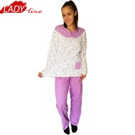 Pijamale Dama Groasa, Model Lilac Flowers, Producator Baki Collection, Bumbac 100%, Culoare Mov Liliac