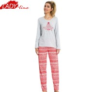 Pijamale Dama Maneca Lunga, Material Bumbac 100%, Culoare Gri/Rosu, Producator Vienetta Secret, Model Today Is A Good Day, Pijama Dama Vienetta