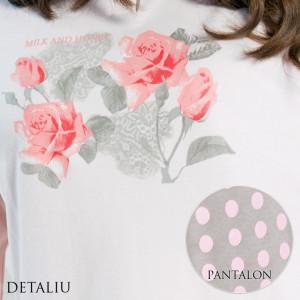 Pijamale Dama Maneca Lunga, Model La Vie en Rose, Brand Italian Fashion Design, Material Bumbac 100% Interlock, Culoare Roz/Gri, Pijamale Dama Calitate 100%