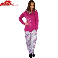 Pijamale Dama Maneca Lunga, Model Lovely Girl, Producator Baki Collection, Bumbac 100%, Culoare Fucsia/Alb, Pijamale Dama Maneca si Pantalon Lung