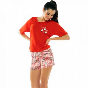 Pijamale Dama Manesca Scurta Pantalon Scurt Vienetta Model 'Pop Pop Corn' Red