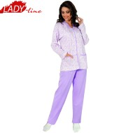 Pijamale Dama Marimi Mari, Flausat Pe Interior, Model Beauty Purple, Producator Aydogan Home Wear, Material Bumbac 100%, Culoare Mov Liliac, Pijamale Dama Clasice XXL
