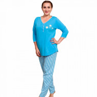 Pijamale Dama Marimi Mari Vienetta Model 'Daisy Flowers' Blue