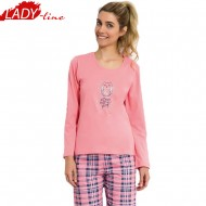 Pijamale Dama Toamna, Model All You Need Is Sleep, Producator Vienetta, Bumbac 100%, Culoare Roz Coral