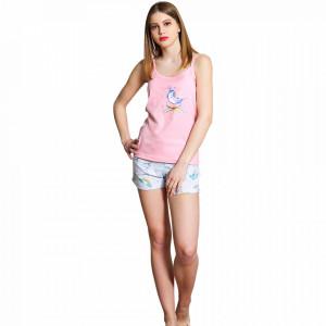 Pijamale Dama Vienetta, Bumbac 100%, 'Belive in Unicorns' Pink