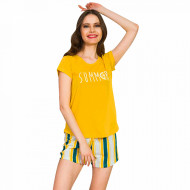 Pijamale Dama Vienetta Bumbac 100%, 'Summer' Yellow
