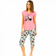 Pijamale Dama Vienetta din Bumbac cu Pantalon 3/4 Model 'Panda's Dream' Pink