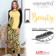 Pijamale Dama Vienetta Dream Model 'Beauty Zebra' Yellow