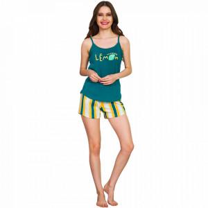 Pijamale Dama Vienetta, 'Fashion Lemon' Culoare Verde