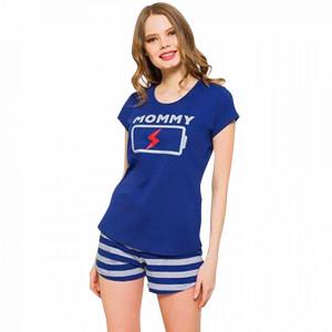 Pijamale Dama Vienetta, 'Mommy Charge' Culoare Albastru