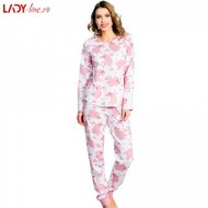 Pijamale Vienetta Secret Bumbac 100%, 'Dancing Bear' Pink