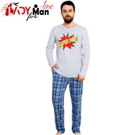 Pijamale Vienetta Secret, Bumbac 100%, 'Super Dad' Gray