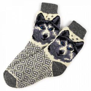 Sosete Calduroase din Lana de Oaie Naturala, Model 'Winter Dogs'