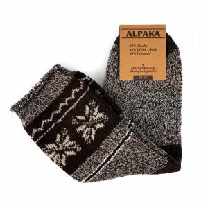 Sosete Calduroase din Lana de Oaie Naturala si Alpaka 'Winter' Brown