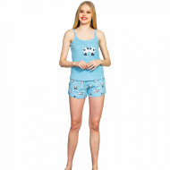 Pijamale Dama Vienetta, Bumbac 100%, 'Listen Your Hear' Blue