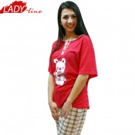 Baby Bear Red, Pijamale Dama Vara, FV Fashion Collection, Bumbac 100%, Culoare Verde