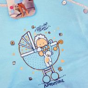 Camasa pentru Gravide si Alaptat din Bumbac Vienetta 'New Home, New Adventure' Blue