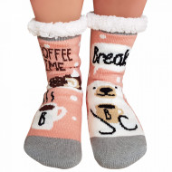 Ciorapi Imblaniti si Caldurosi Lady-Line Model 'Break Coffee Time' Pink