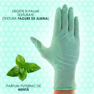Manusi Latex Nepudrate Examinare cu Parfum de Menta Aurelia® Refresh® Verde 100 Buc