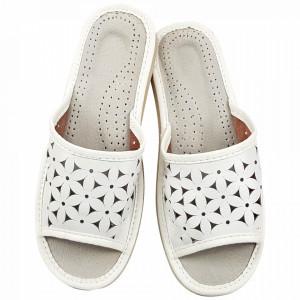 Papuci de Casa Dama, Material Piele, Culoare Alb, Model 'Flawors Patrol' White