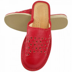 Papuci de Casa Dama, Material Piele, Culoare Rosu, Model 'Flowers Patrol Complete'