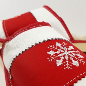 Papuci de Casa din Piele Imblaniti cu  Lana Model 'Snow in December', Culoare Rosu