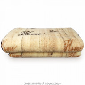Patura din Lana Natural de Oaie 100% Model 'Home' Marime 160 x 200, 1 Bucata