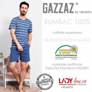 Pijama Barbati Gazzaz by Vienetta, 'Factory' Blue